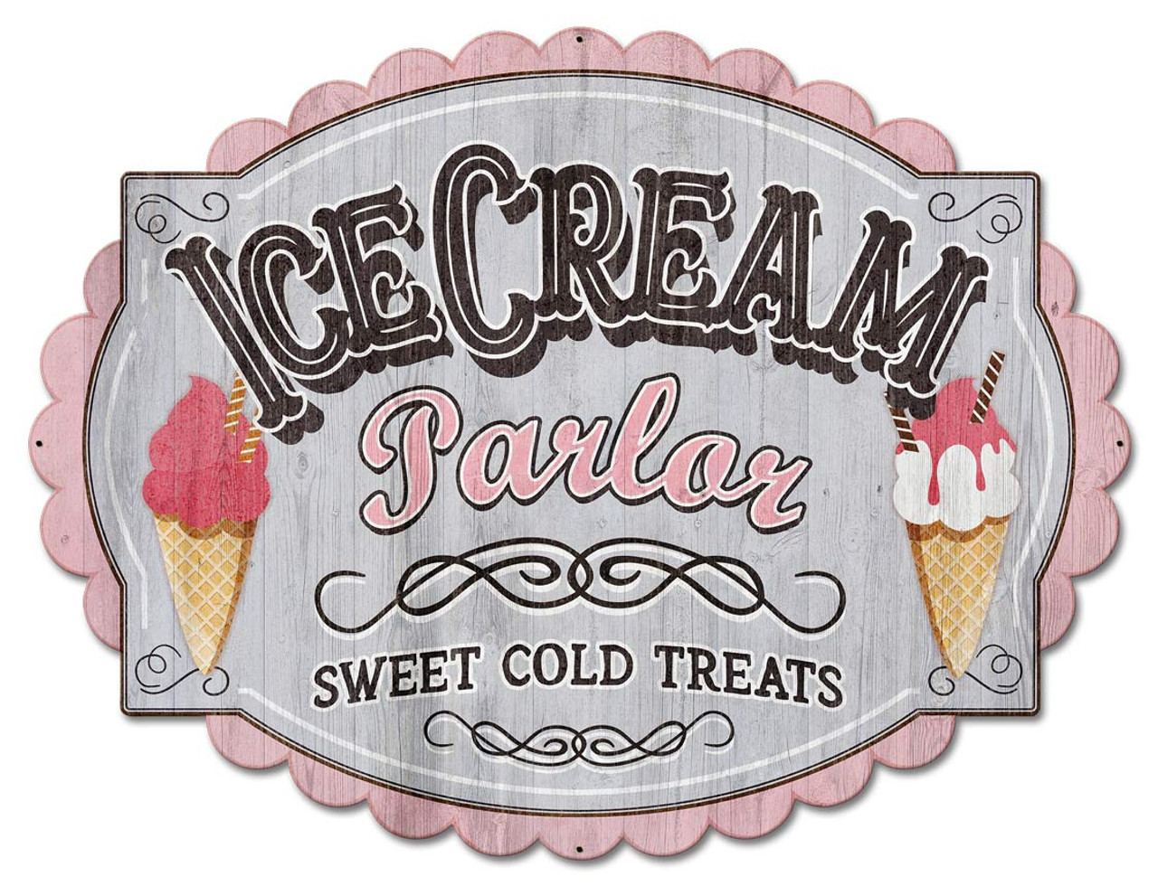 Cream Parlor Metal Sign 30 x 23 Inches