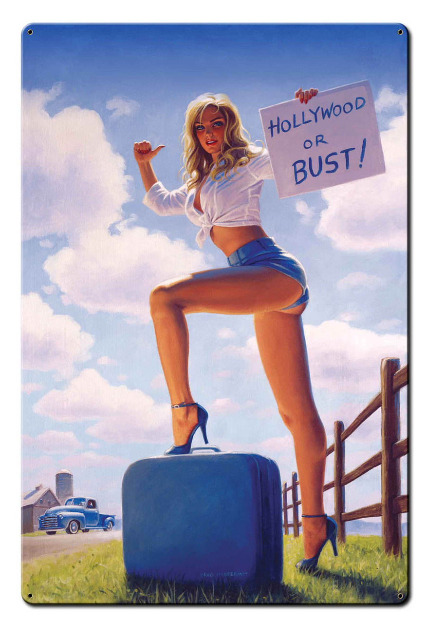Blonde White and Blue Pinup Girl Metal Sign v2 24 x 36 Inches