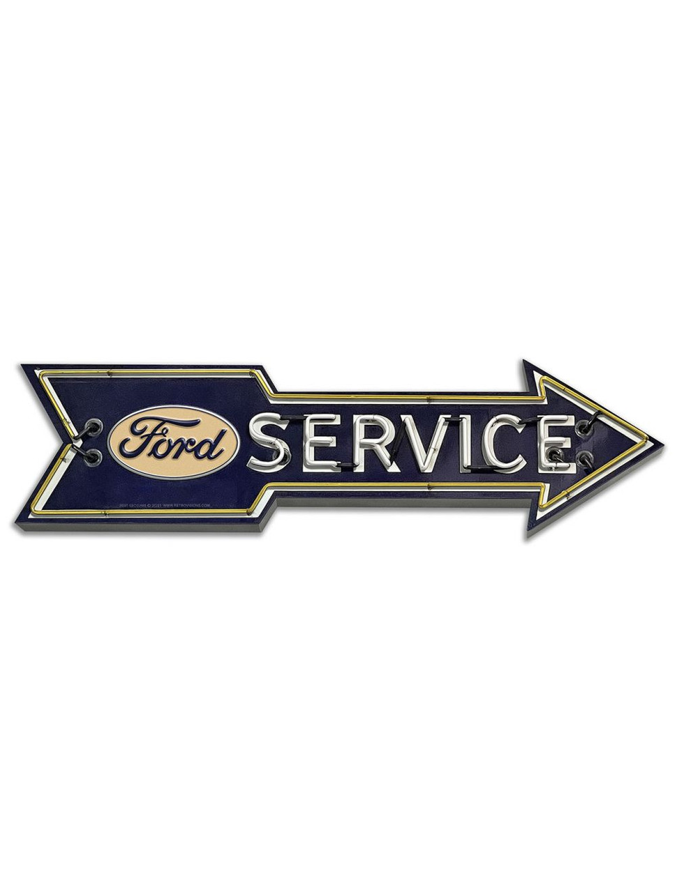 Ford Service 'Neon Style' Metal Sign 24 x 7 Inches