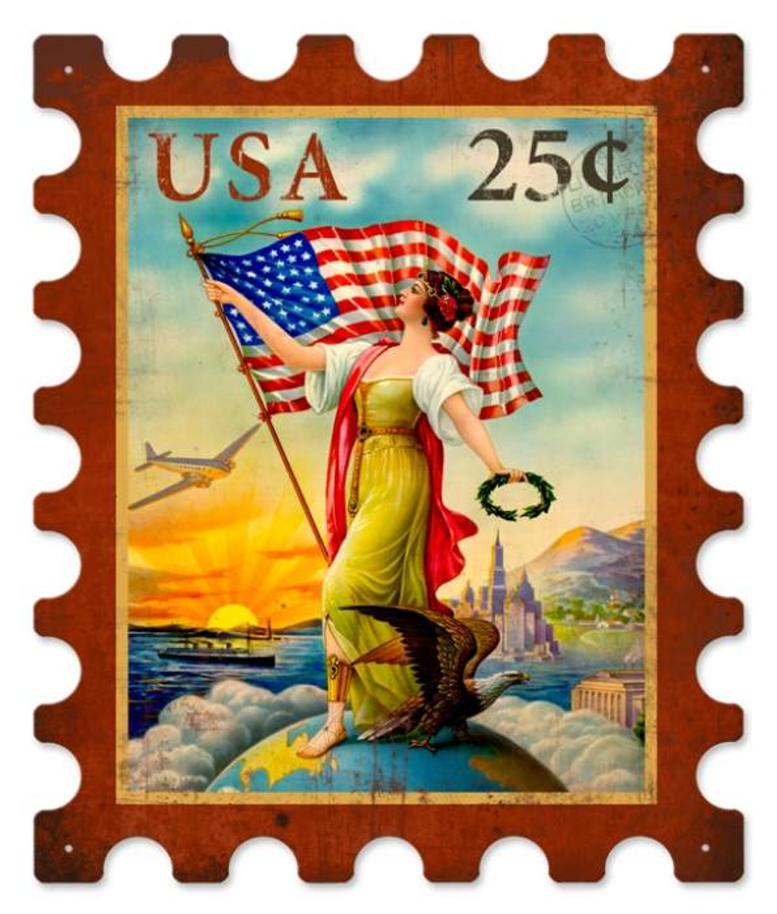 Retro USA Eagle Stamp Metal Sign 15 x 18 Inches