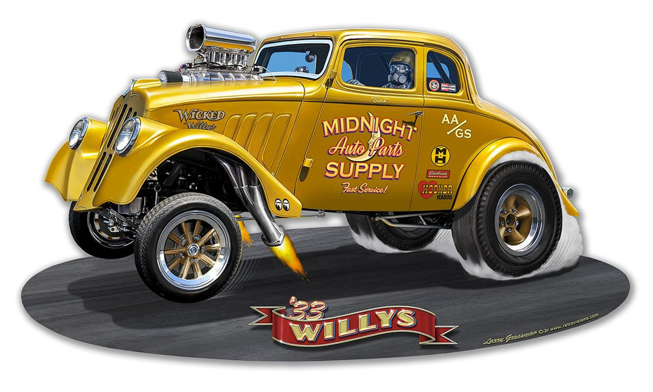 1933 Willy's Gasser Metal Sign 18 x 10 Inches