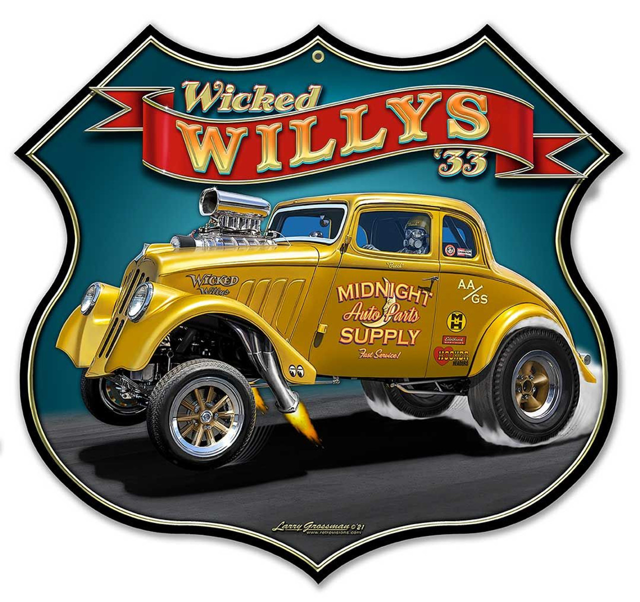Wicked 1933 Willy's Shield Metal Sign 18 x 17 Inches