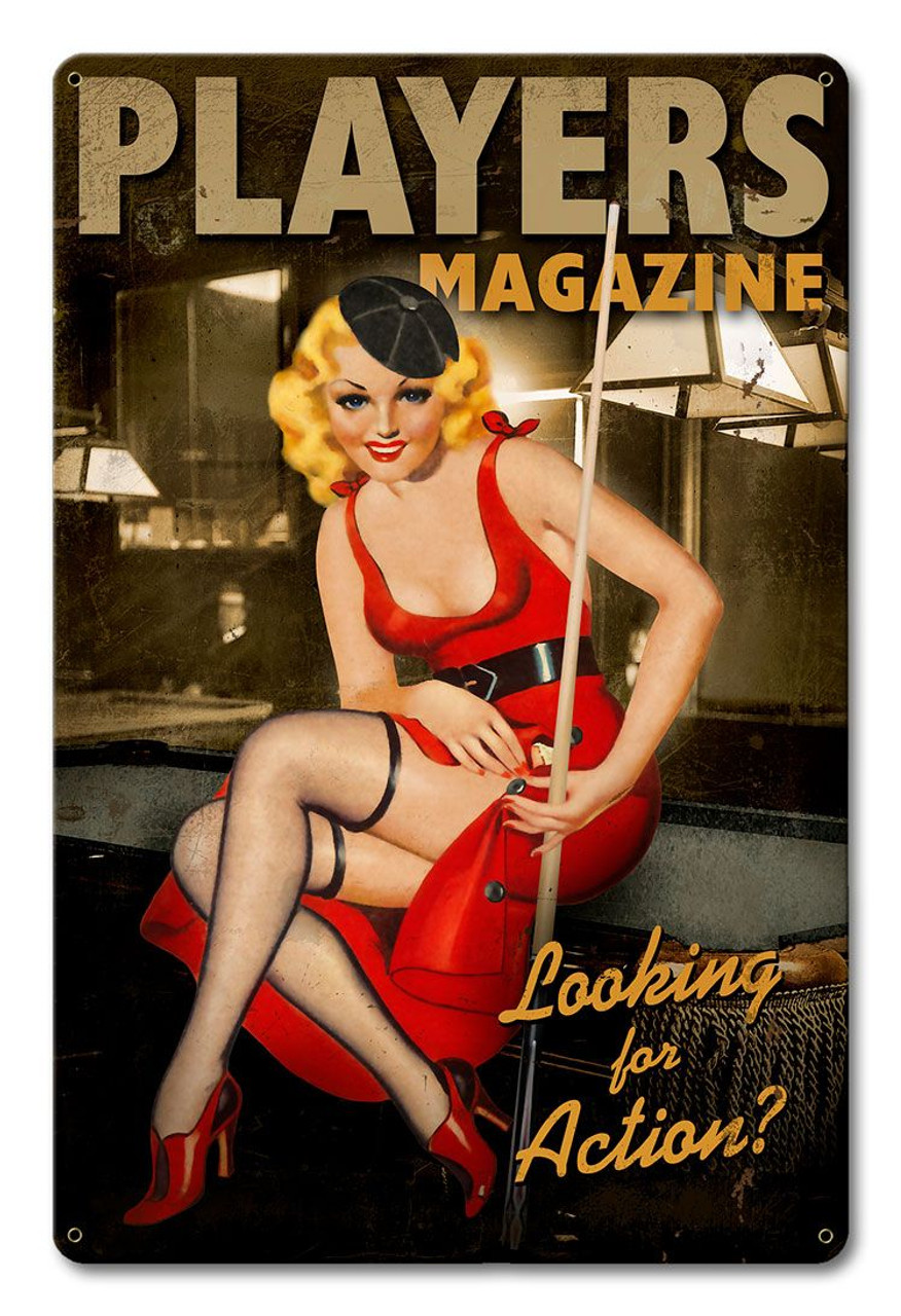 Players Pool Girl  - Pin-Up Girl Metal Sign 12 x 18 Inches
