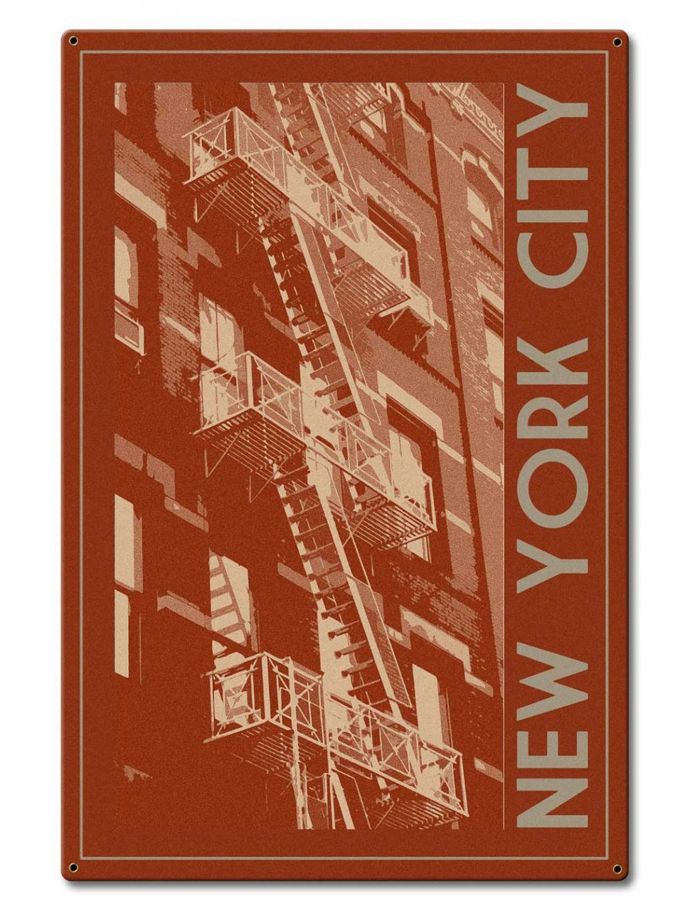 New York City Stair  Metal Sign 20 x 30 Inches