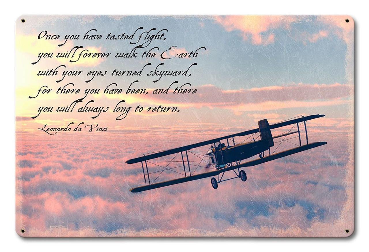 Da Vinci Flight Quote  Metal Sign 18 x 12 Inches