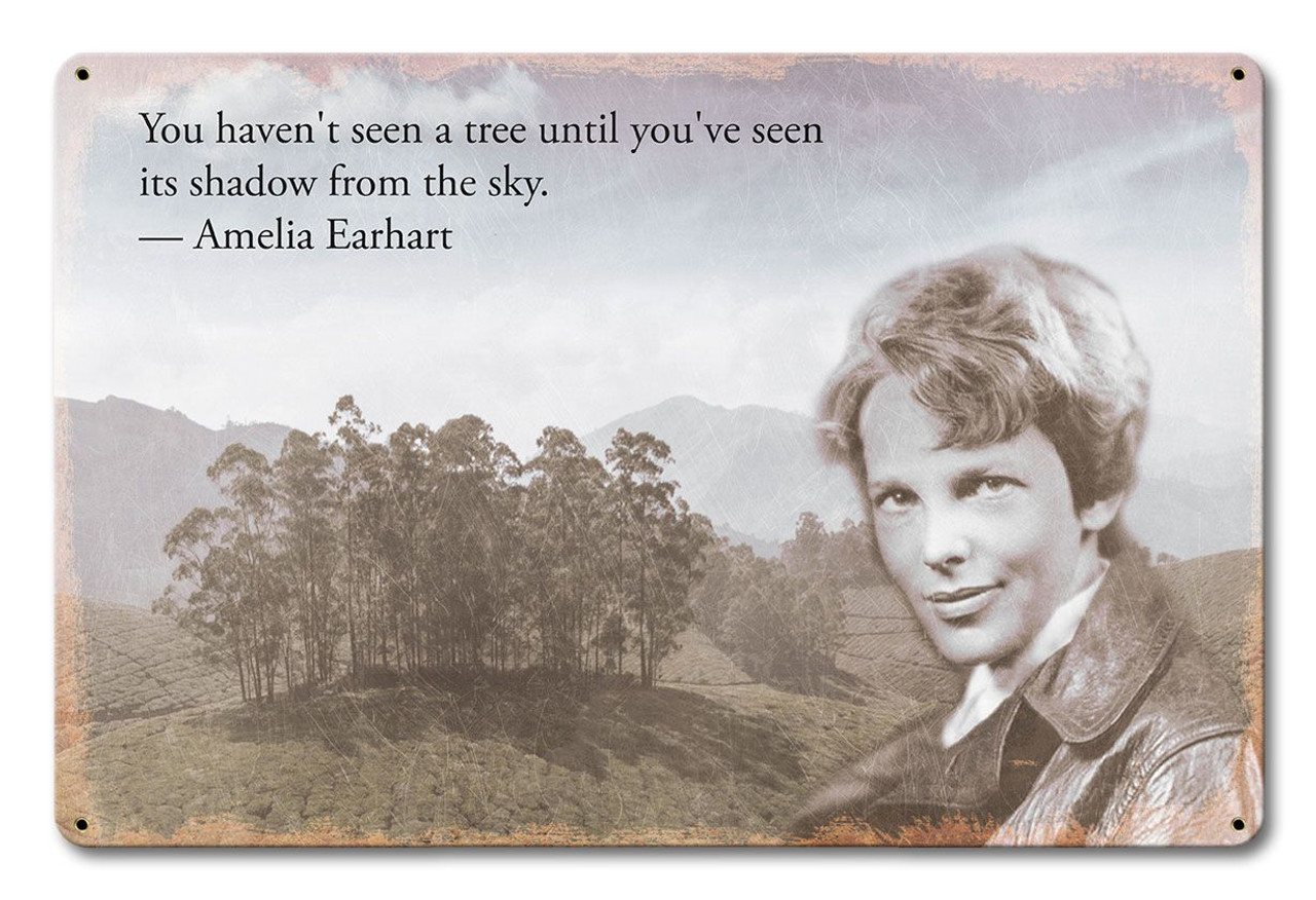Earhart Tree Quote Metal Sign 18 x 12 Inches
