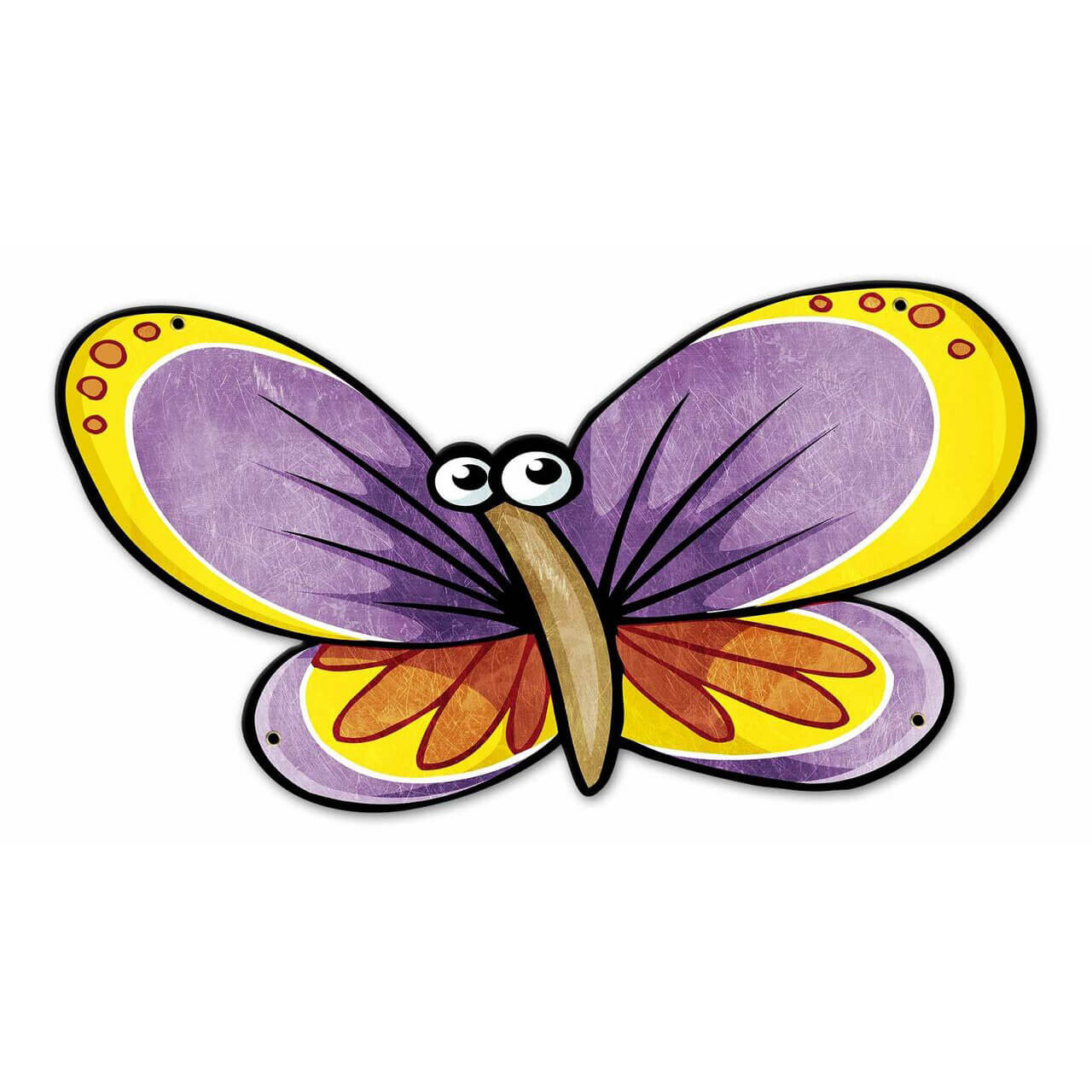 Purple Butterfly Custom Shape Metal Sign 22 x 12 Inches
