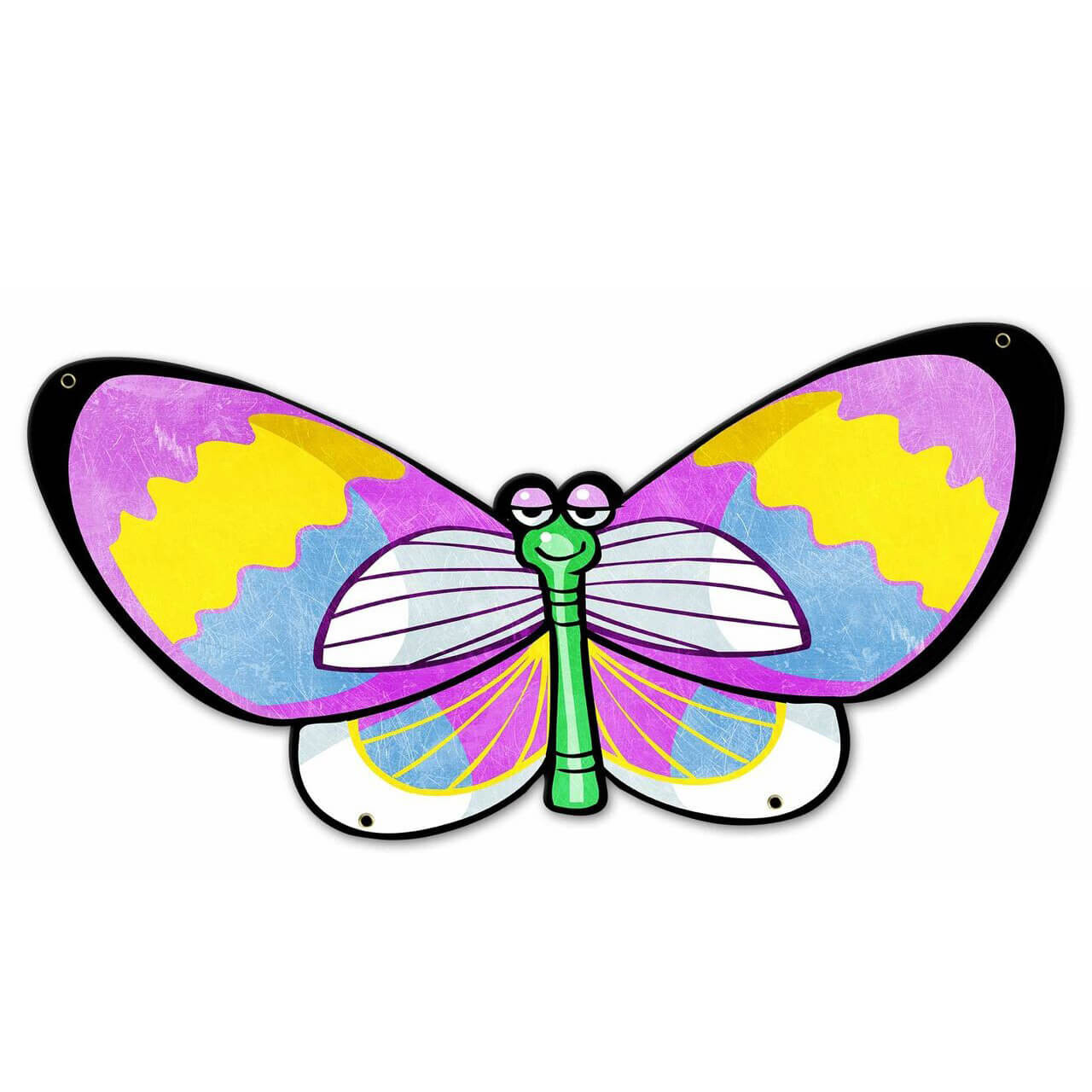 Pink Yellow Butterfly Custom Shape Metal Sign 23 x 12 Inches