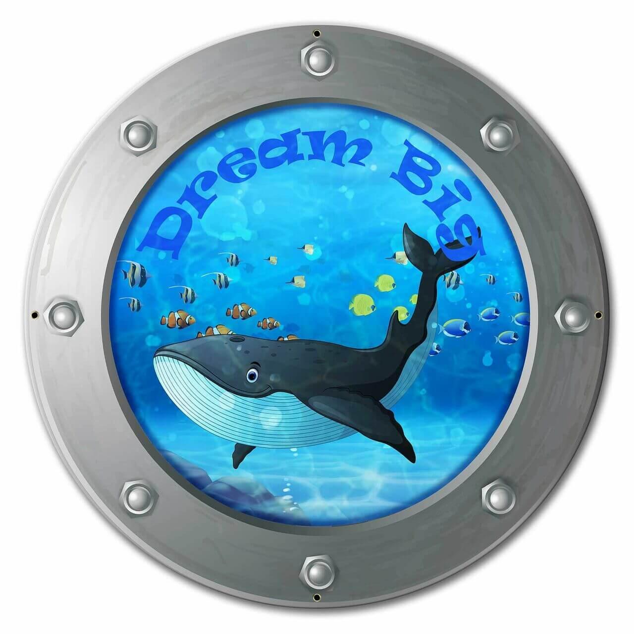 Dream Big Whale Custom Shape Metal Sign 24 x 24 Inches