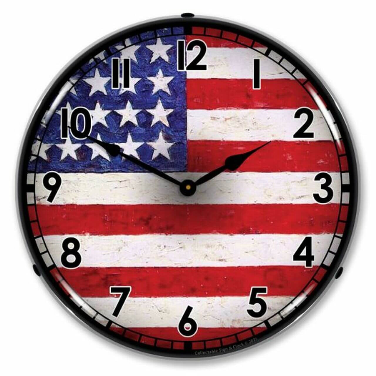 USA Flag LED Lighted Wall Clock 14 x 14 Inches