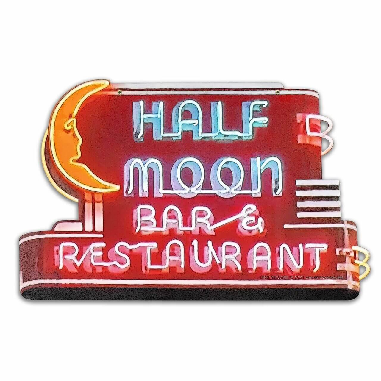 Half Moon Bar Neon Style Custom Shape Metal Sign 28 x 18 Inches