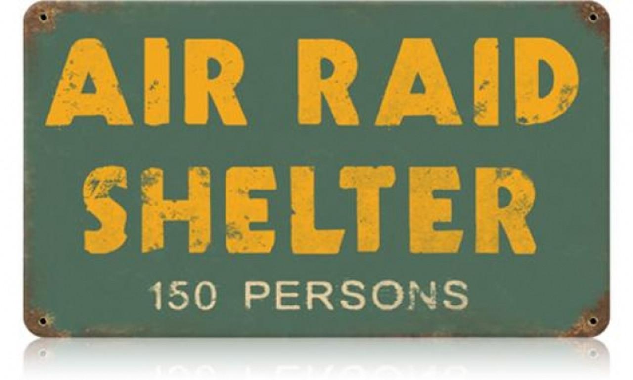 Retro Air Raid Shelter Metal Sign 14 x 8 Inches