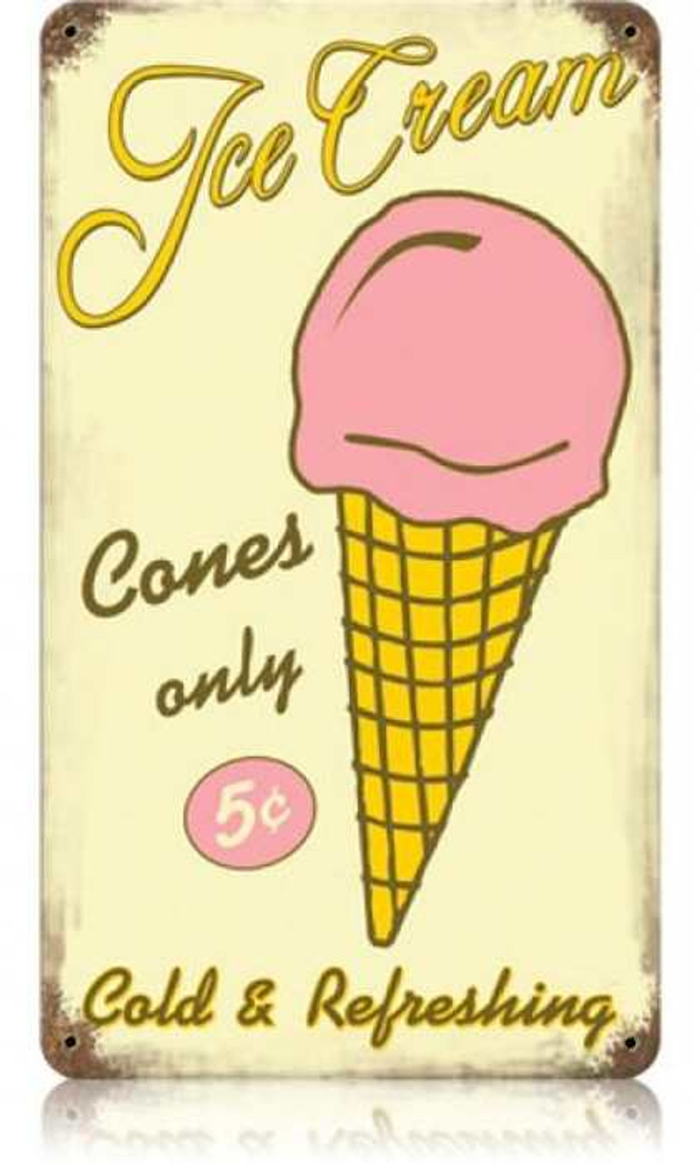 Vintage Ice Cream Metal Sign   8 x 14 Inches