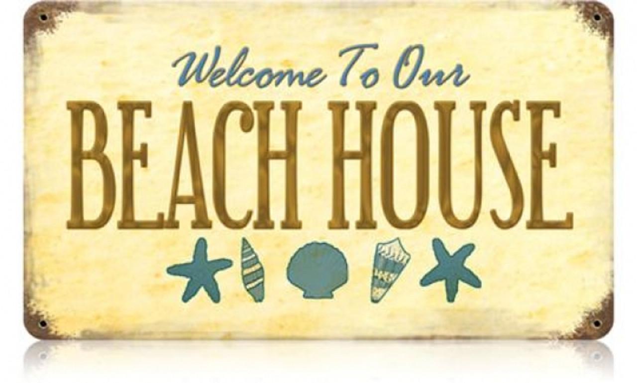 Retro Beach House Metal Sign 14 x 8 Inches
