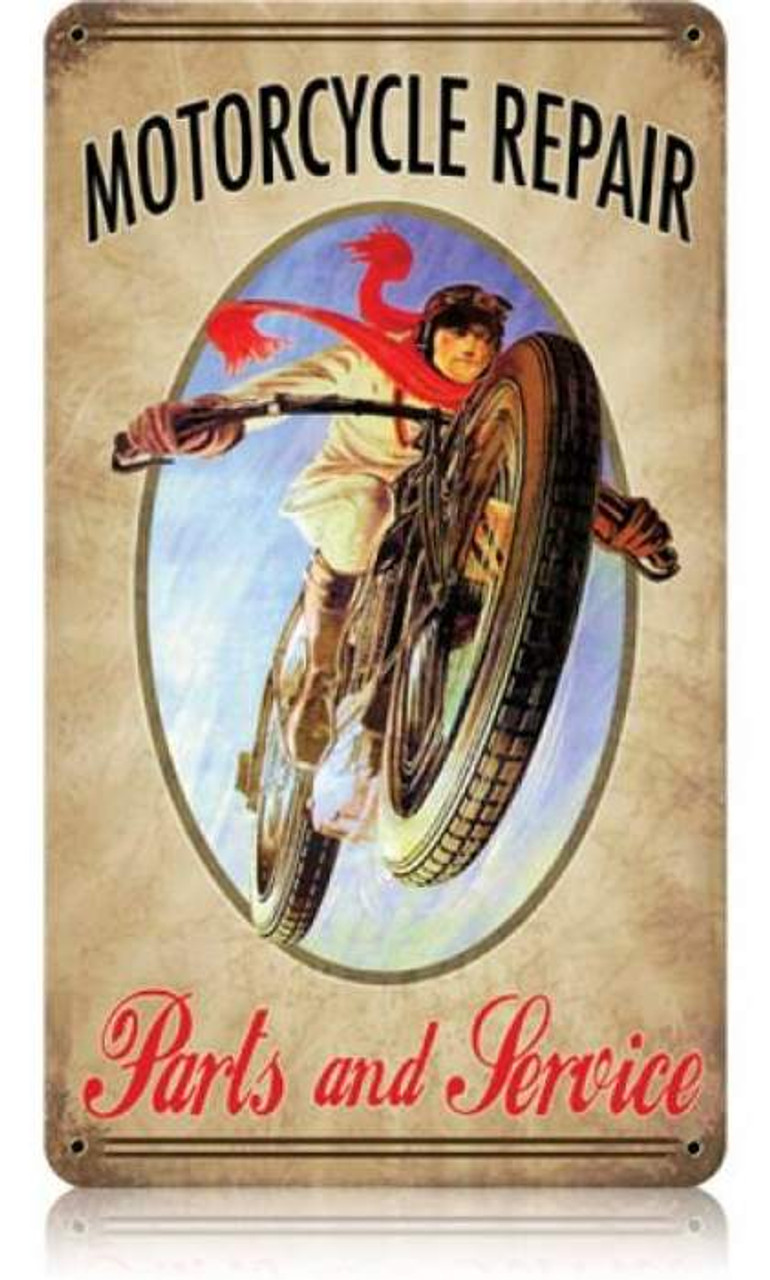 Vintage Motorcycle Metal Sign 8 x 14 Inches