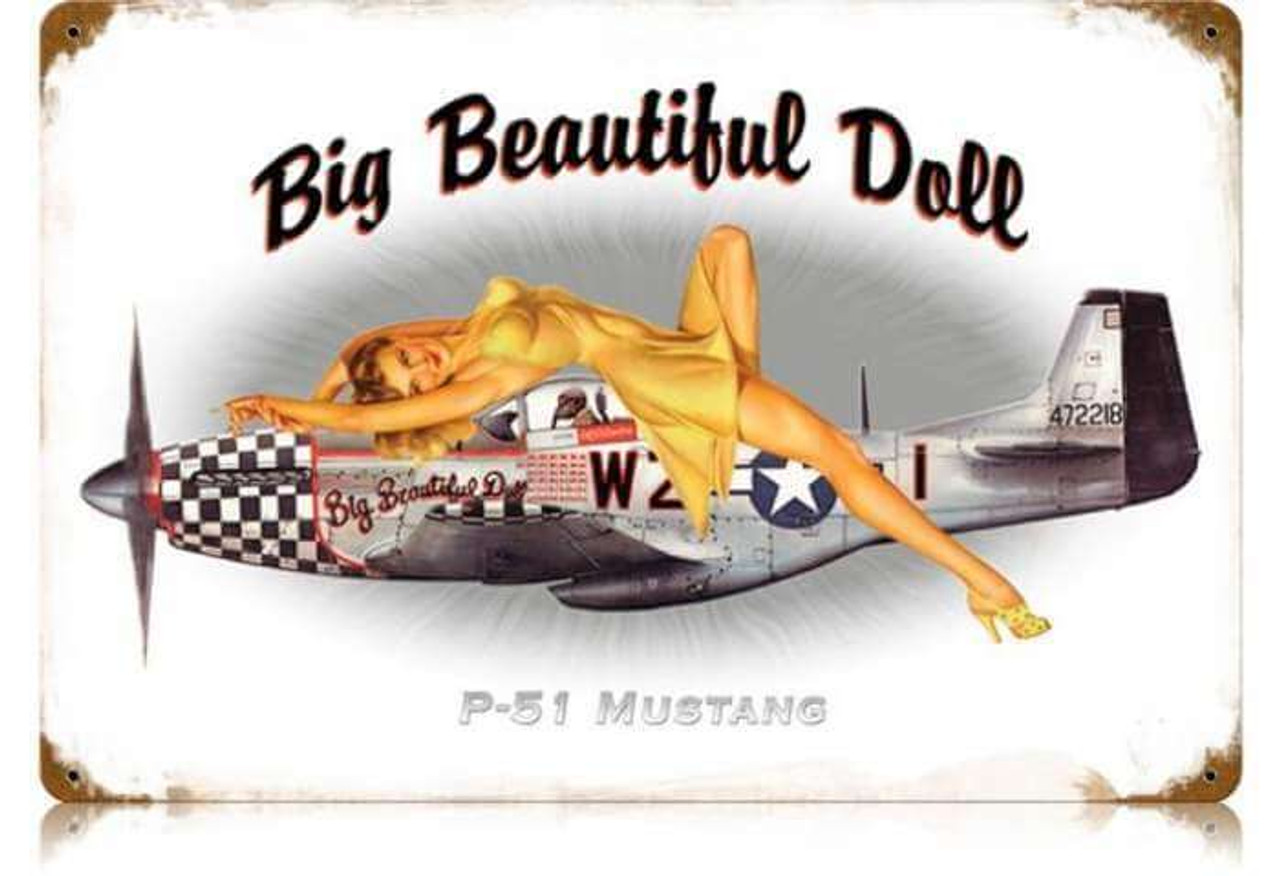 Retro P-51 Pin Up  - Pin-Up Girl Metal Sign 18 x 12 Inches