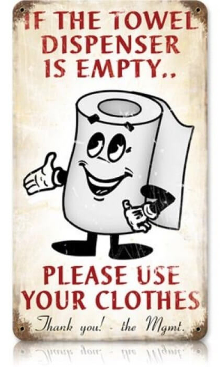 Retro Towel Dispenser Metal Sign   8 x 14 Inches
