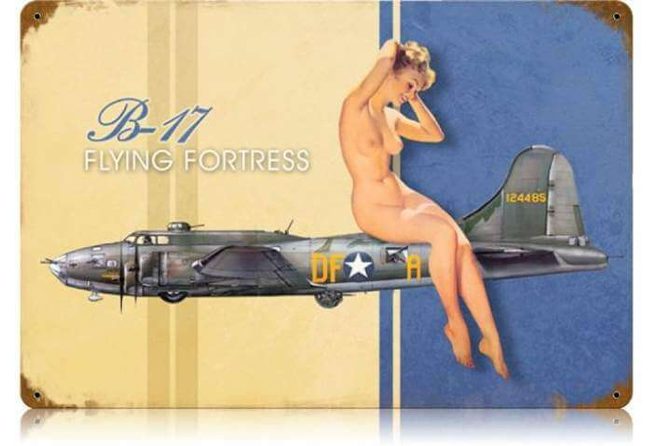 Retro B-17 Nude  - Pin-Up Girl Metal Sign 18 x 12 Inches