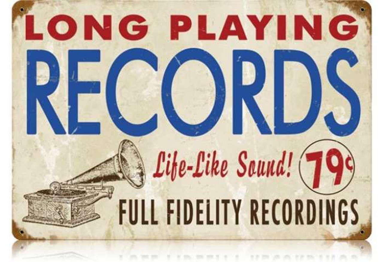 Retro Records Metal Sign  18 x 12 Inches