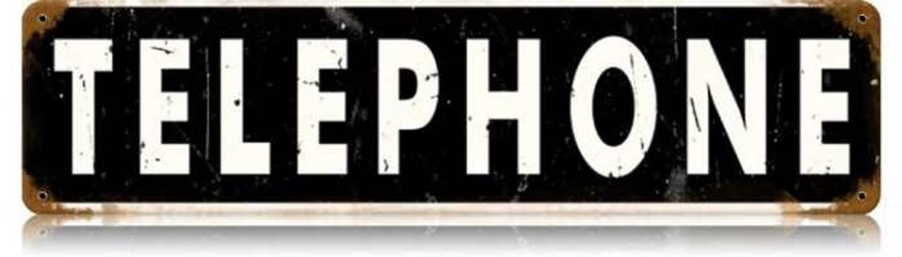 Retro Telephone Tin Sign 20 x 5 Inches