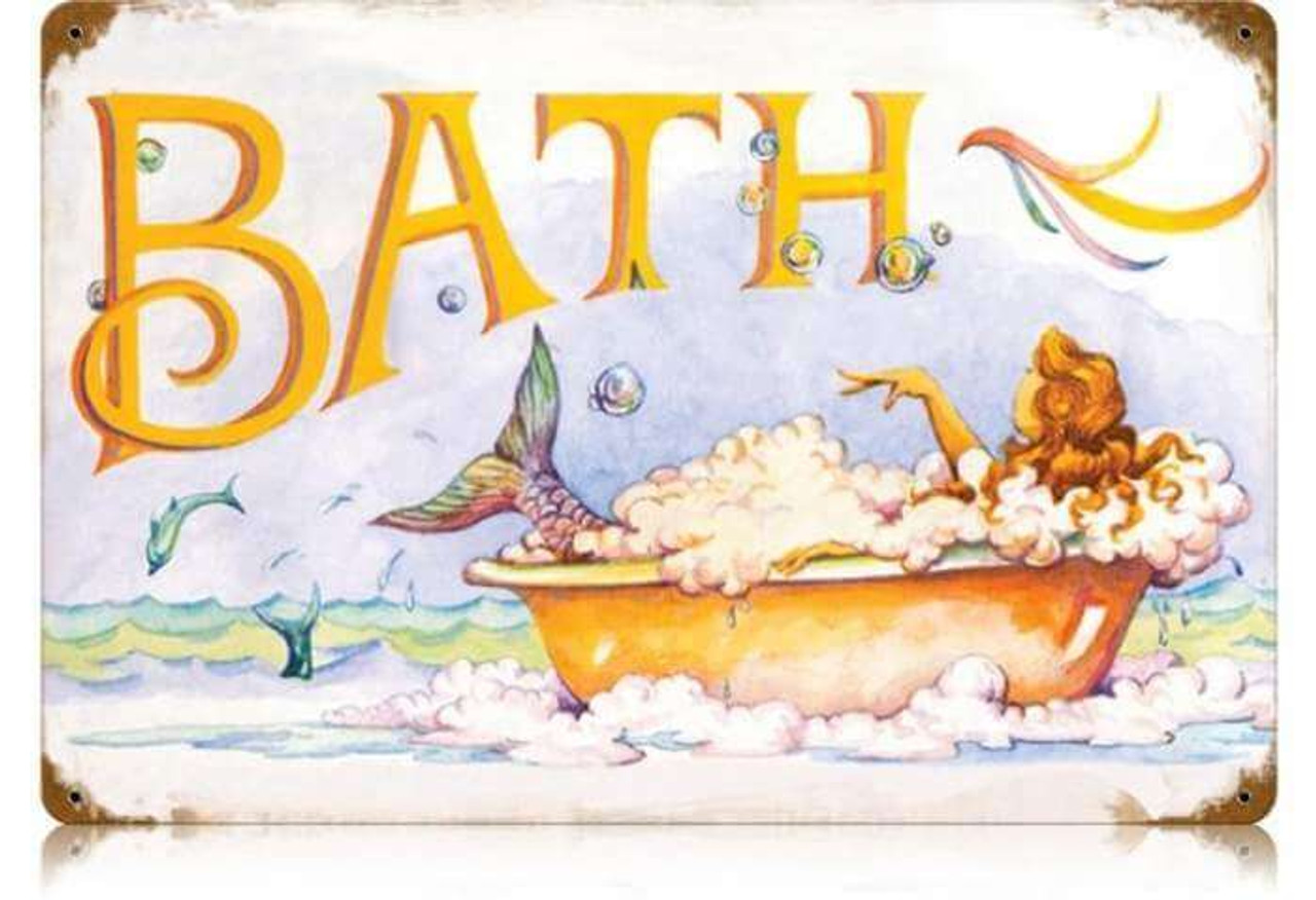 Retro Mermaid Bath Metal Sign  18 x 12 Inches