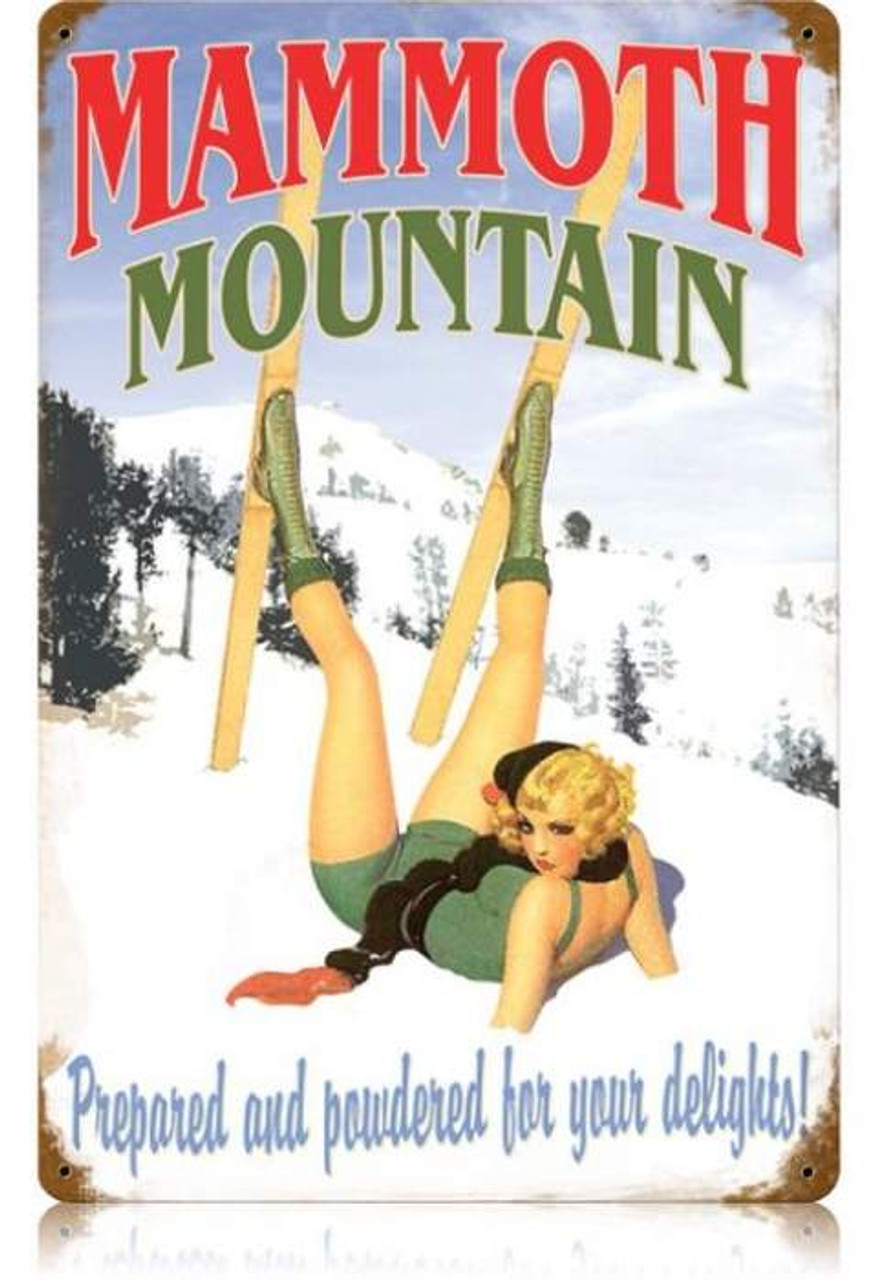 Retro Mammoth Mountain  - Pin-Up Girl Metal Sign 18 x 12 Inches