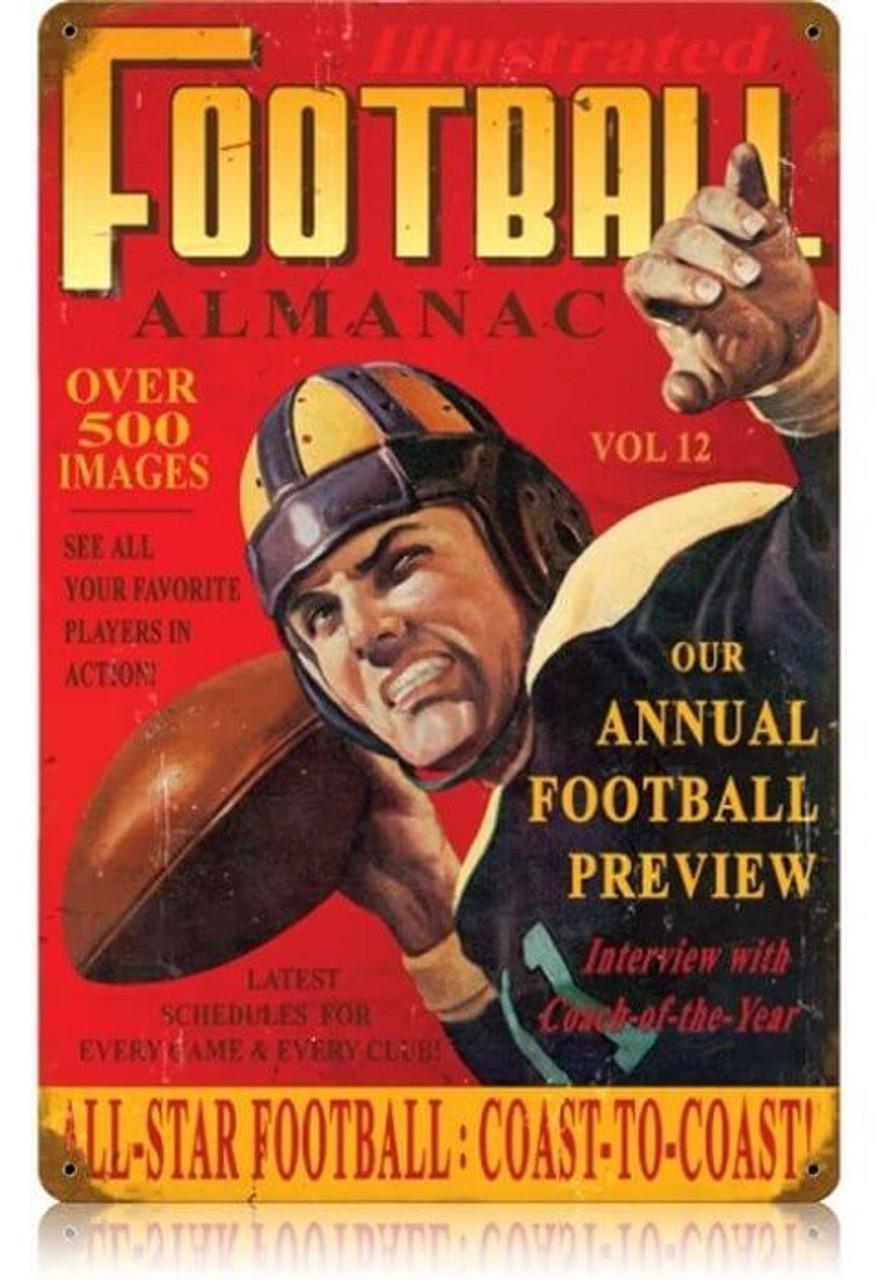 Vintage Football Almanac Metal Sign   12 x 18 Inches