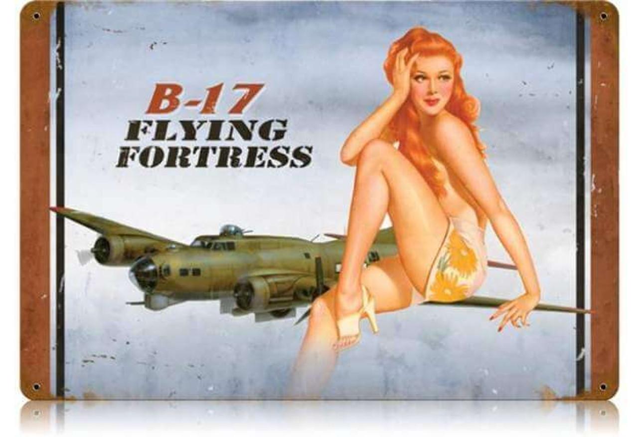 Retro B-17 Redhead  - Pin-Up Girl Metal Sign 18 x 12 Inches