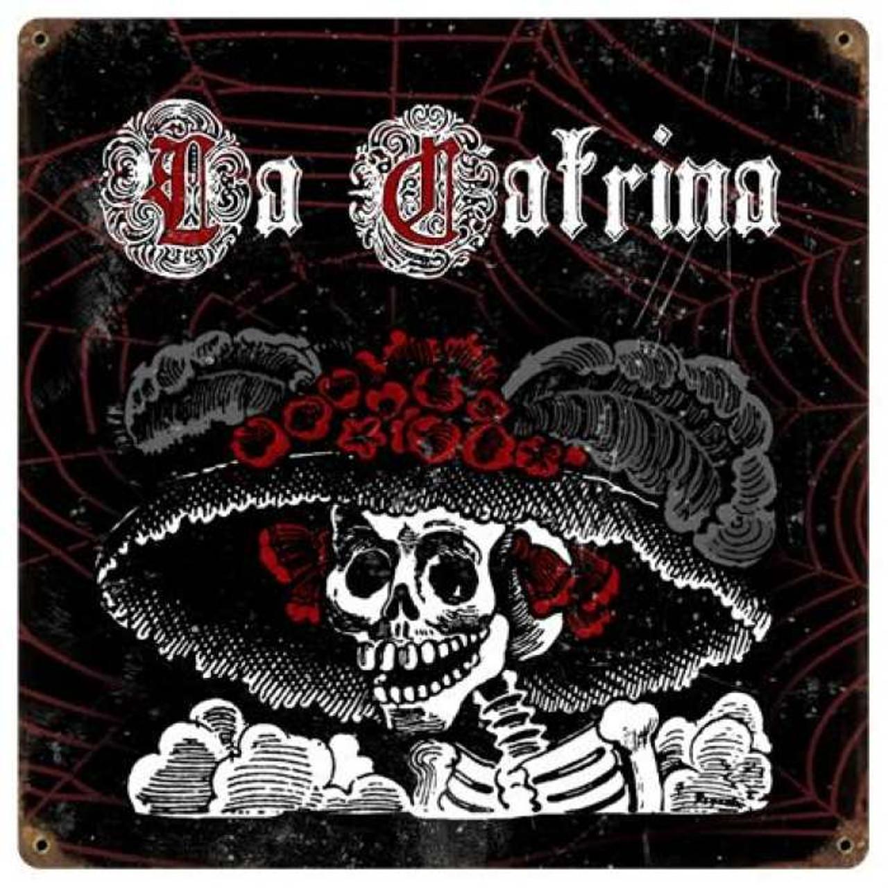 Vintage La Catrina Metal Sign 12 x 12 Inches