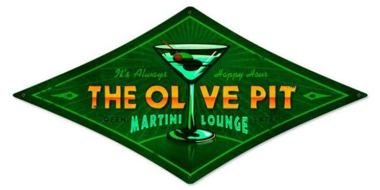 Vintage Olive Pit Diamond Metal Sign 14 x 22 Inches