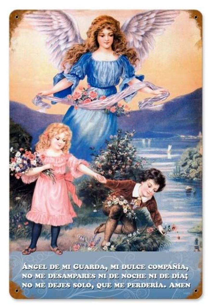 Vintage Angel Metal Sign   12 x 18 Inches