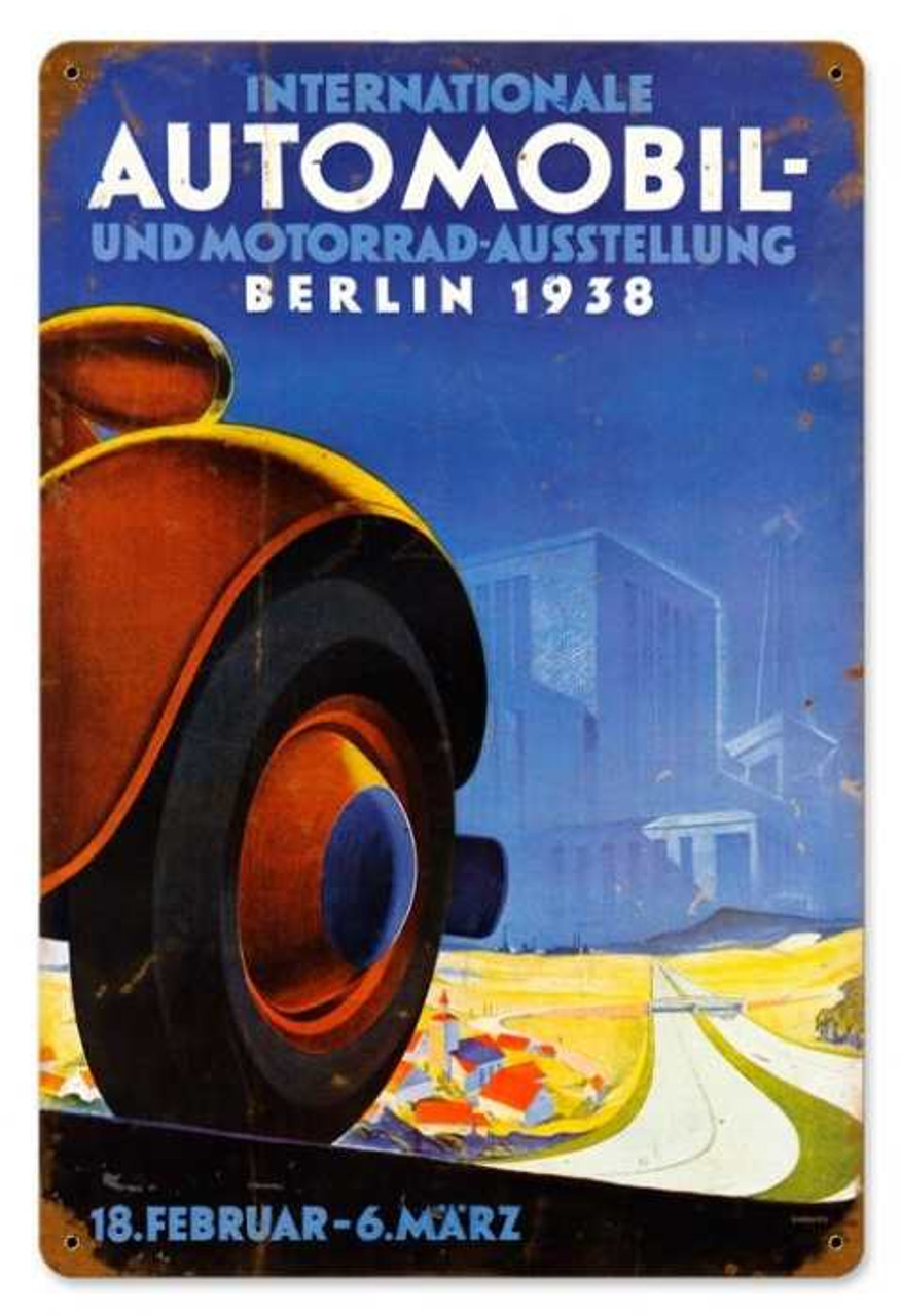 Vintage Automobile Berlin Metal Sign 12 x 18 Inches