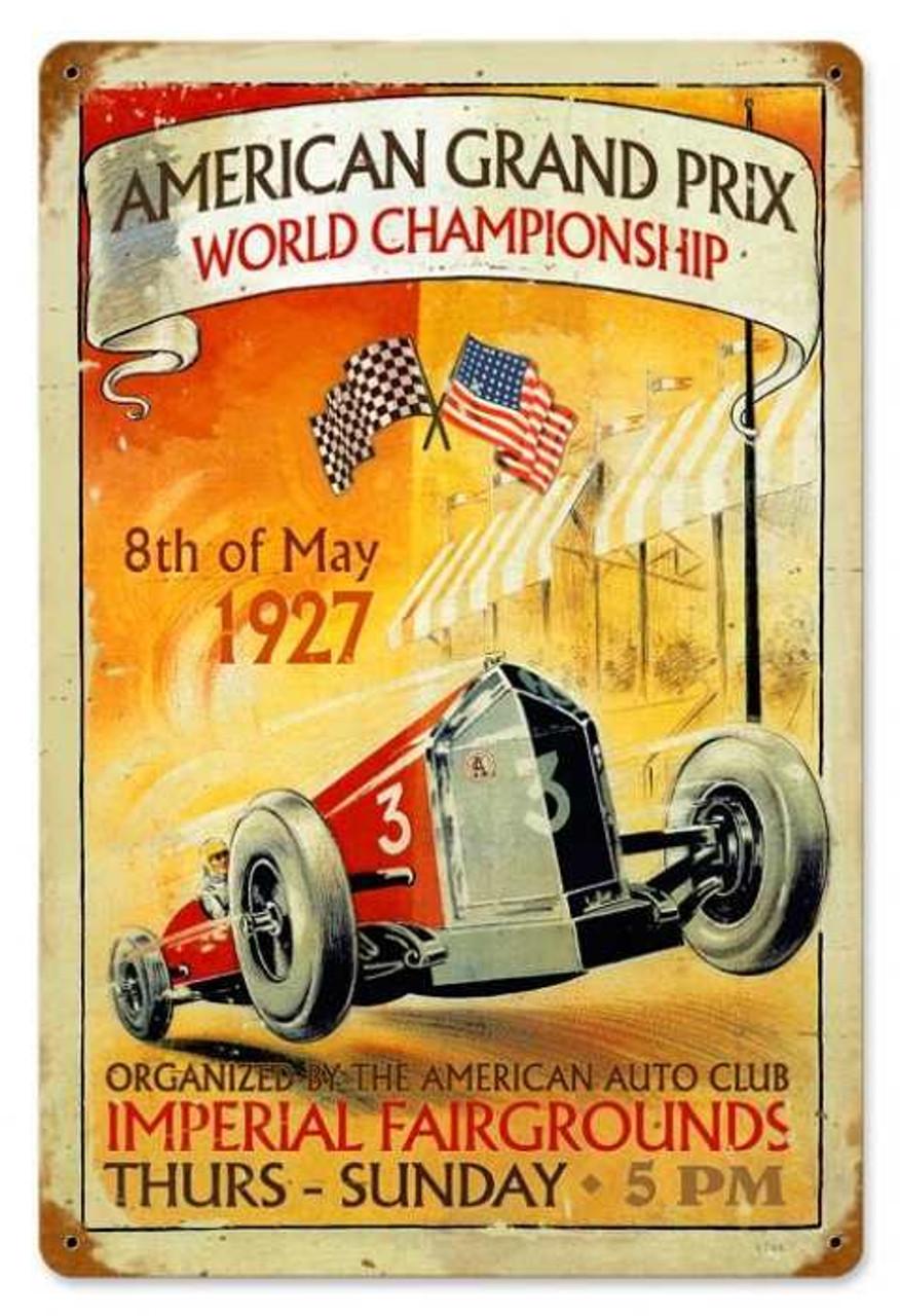Retro American Grand Prix Metal Sign 18 x 12 Inches