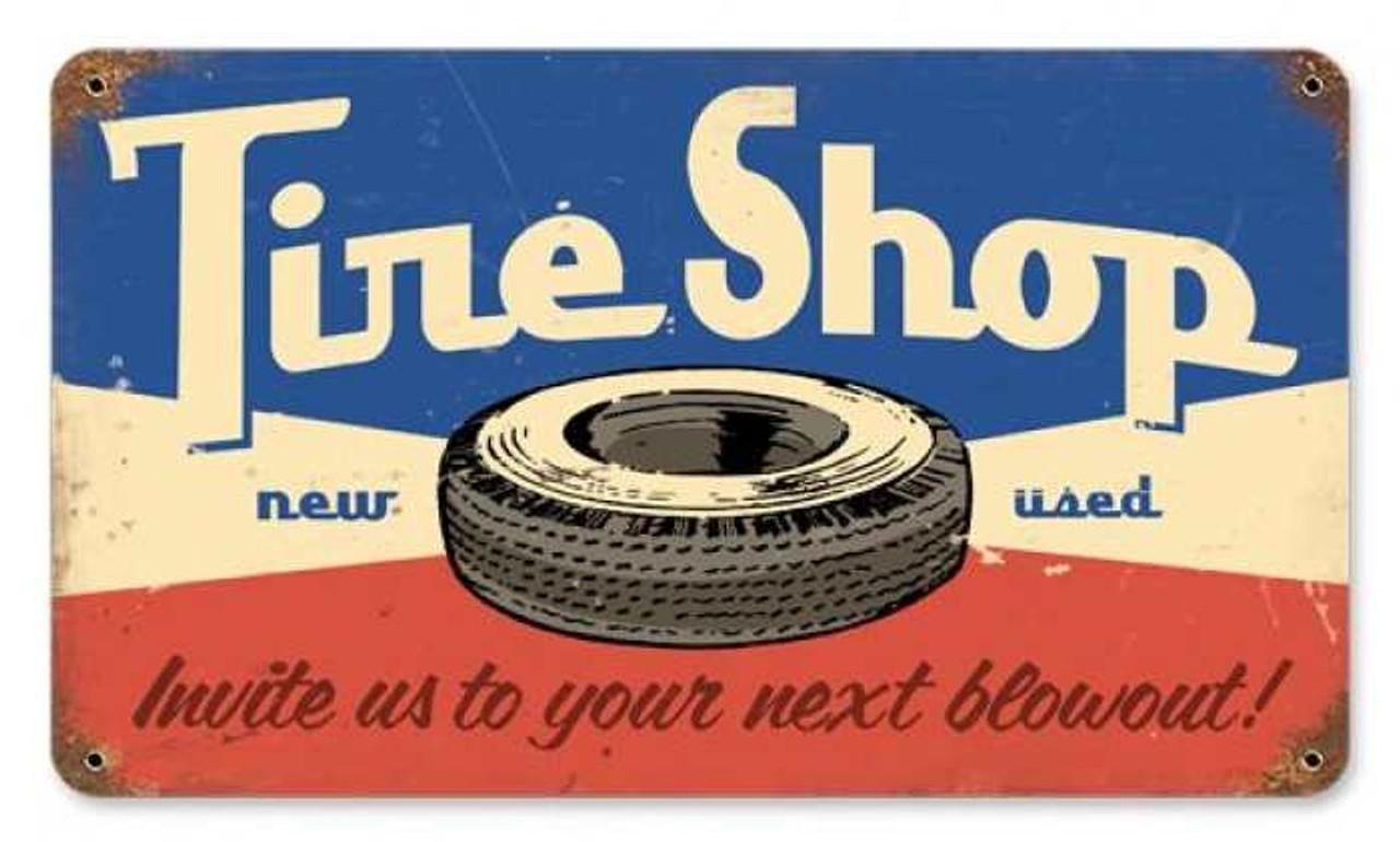 Retro Tire Shop Metal Sign 14 x 8 Inches