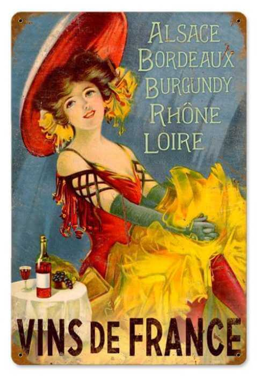 Retro Wines of France Metal Sign 18 x 12 Inches