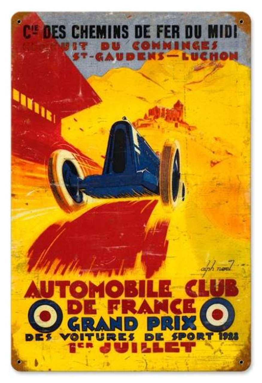 Retro France Grand Prix Metal Sign 18 x 12 Inches