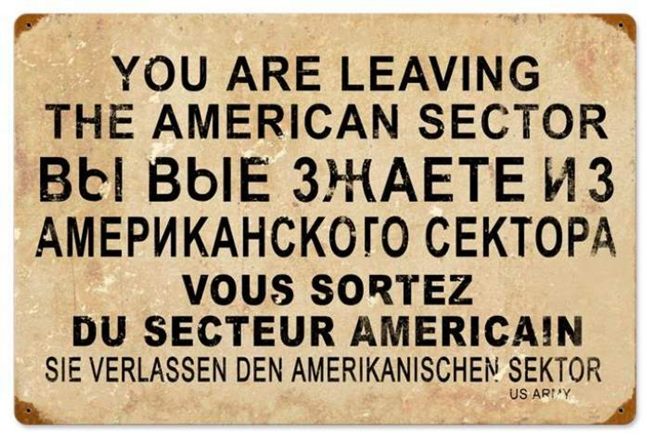Retro American Sector Metal Sign 24 x 16 Inches