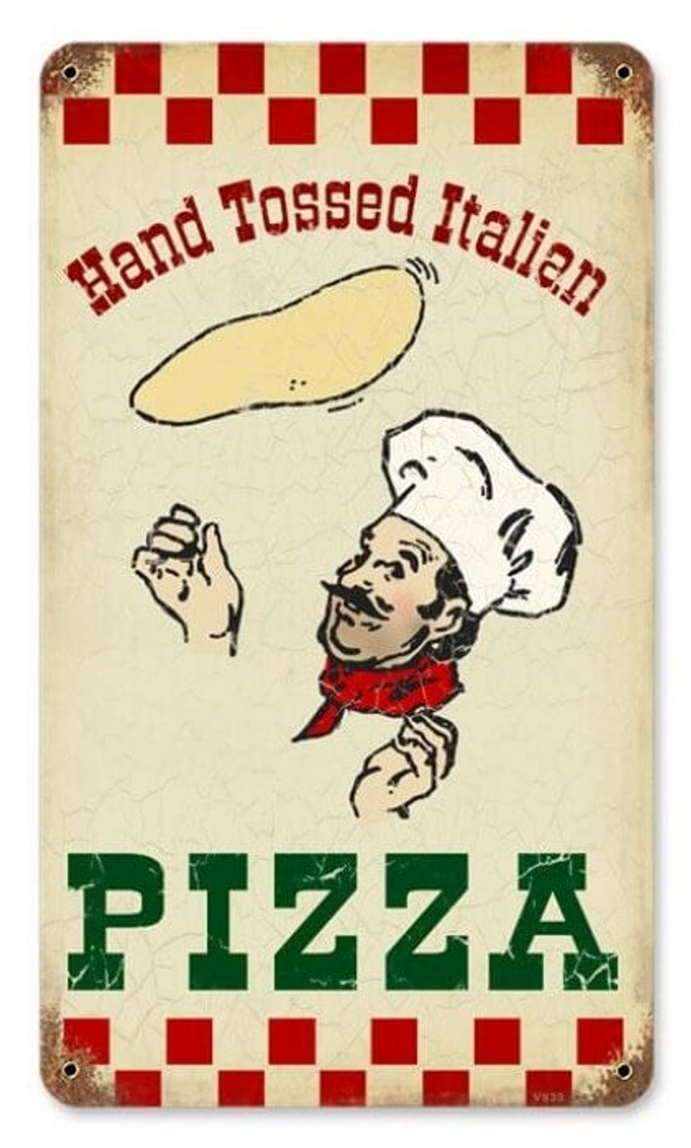 Vintage Hand Tossed Pizza Metal Sign   8 x 14 Inches