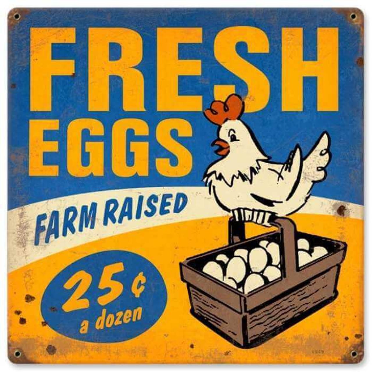 Retro Fresh Eggs Metal Sign 2 12 x 12 Inches