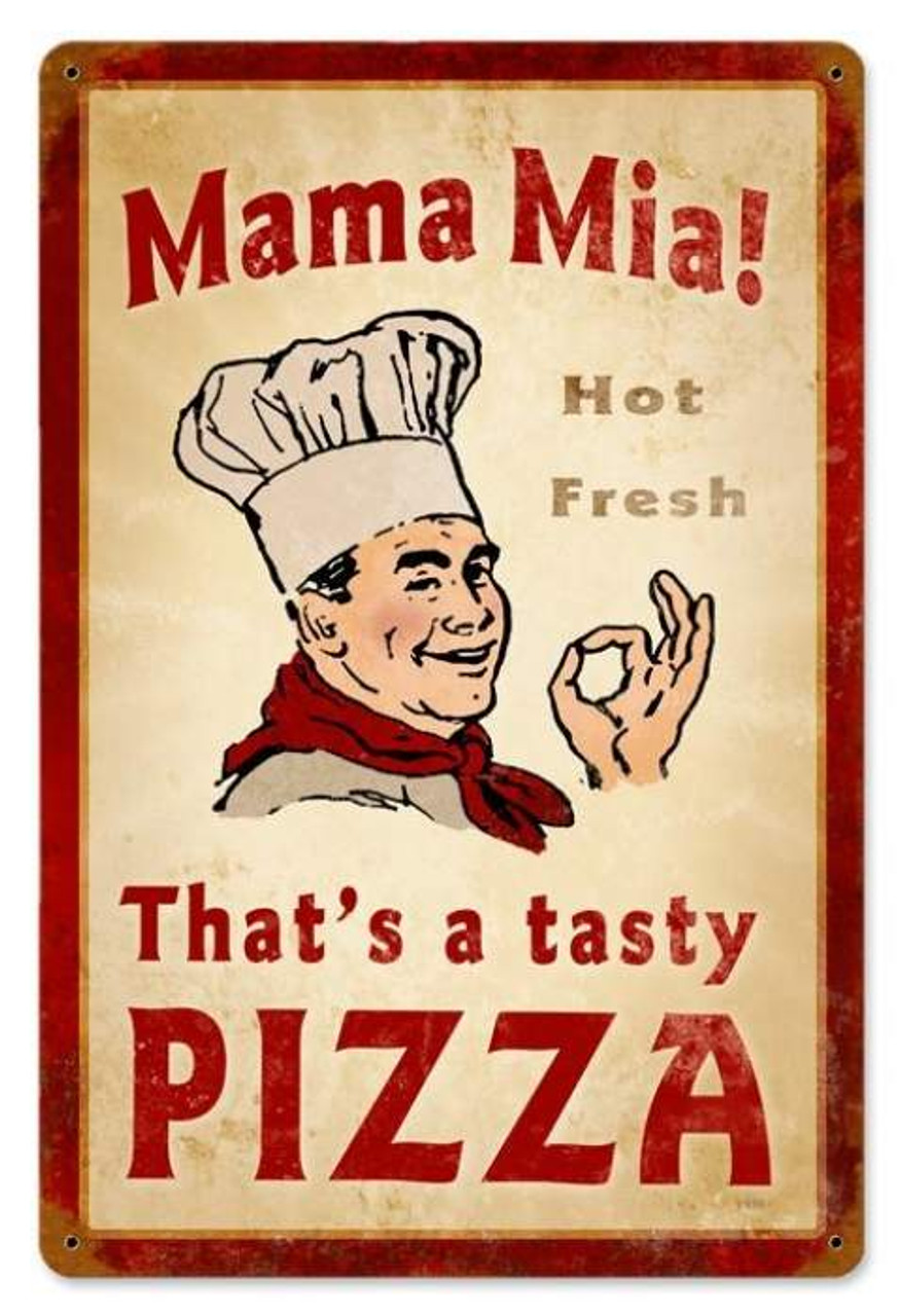 Vintage Mama Mia Pizza Metal Sign 12 x 18 Inches