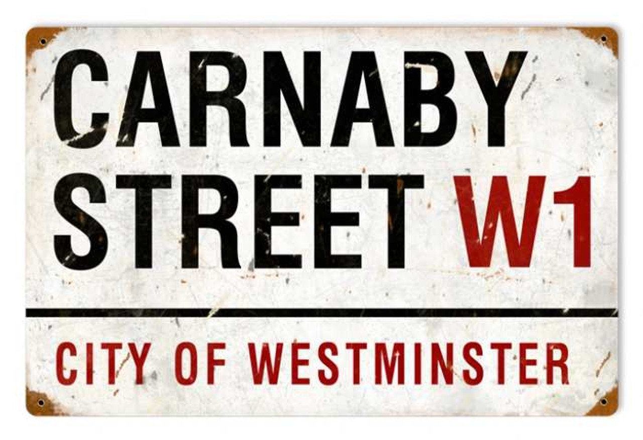 Retro Carnaby Street Metal Sign  18 x 12 Inches