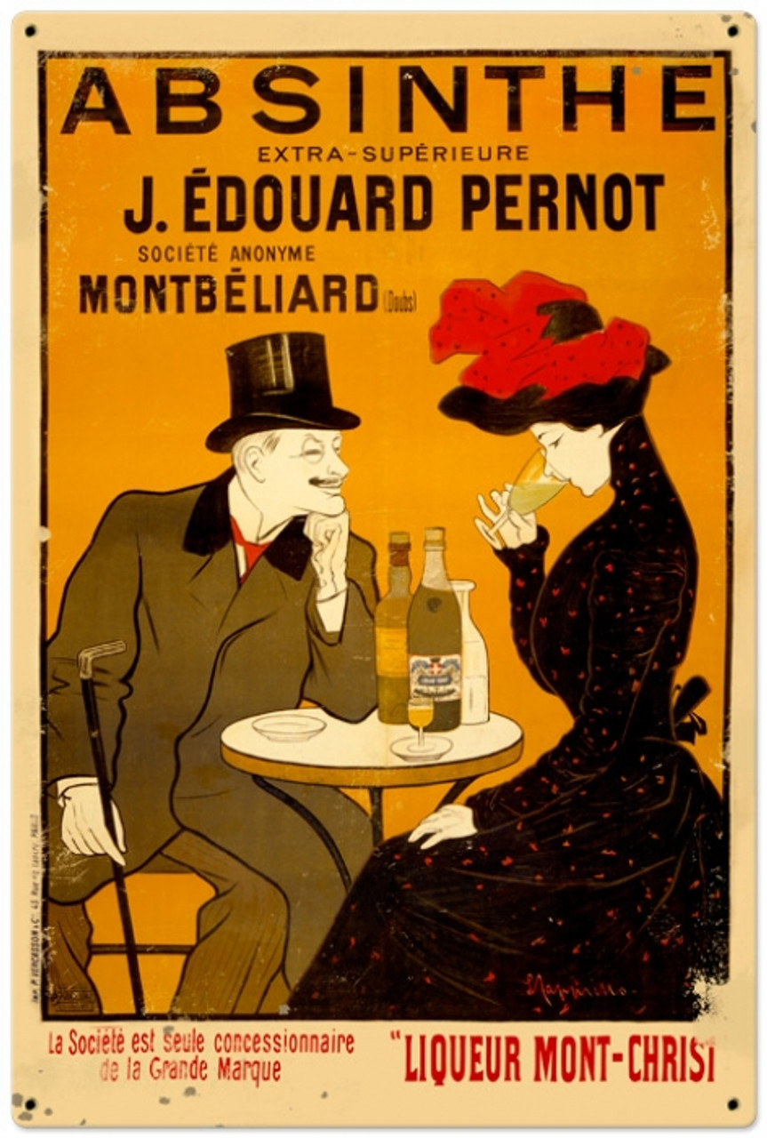 Retro Absinthe Cafe Metal Sign 24 x 36 Inches