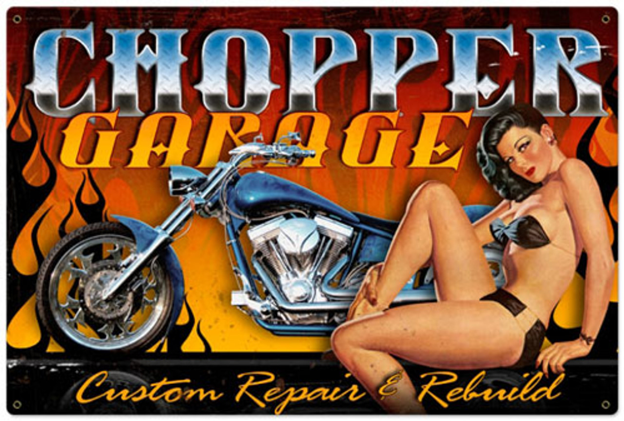 Retro Chopper Garage  - Pin-Up Girl Metal Sign 36 x 24 Inches
