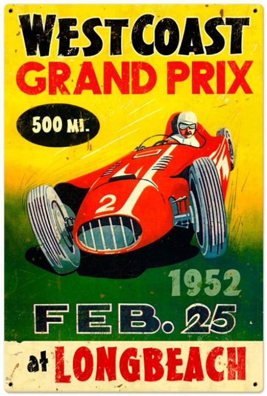Retro West Coast Grand Prix Metal Sign 24 x 36 Inches