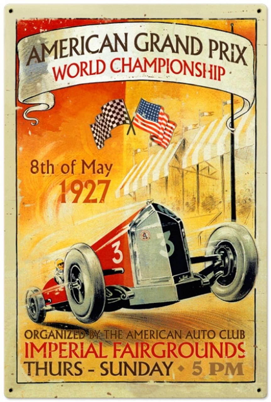 Retro American Grand Prix Metal Sign 24 x 36 Inches