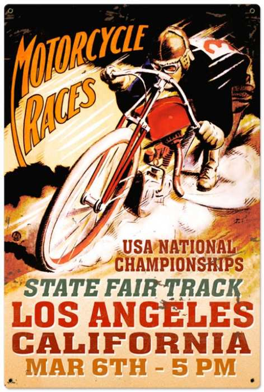 Retro LA Motorcycle Race Metal Sign 24 x 36 Inches
