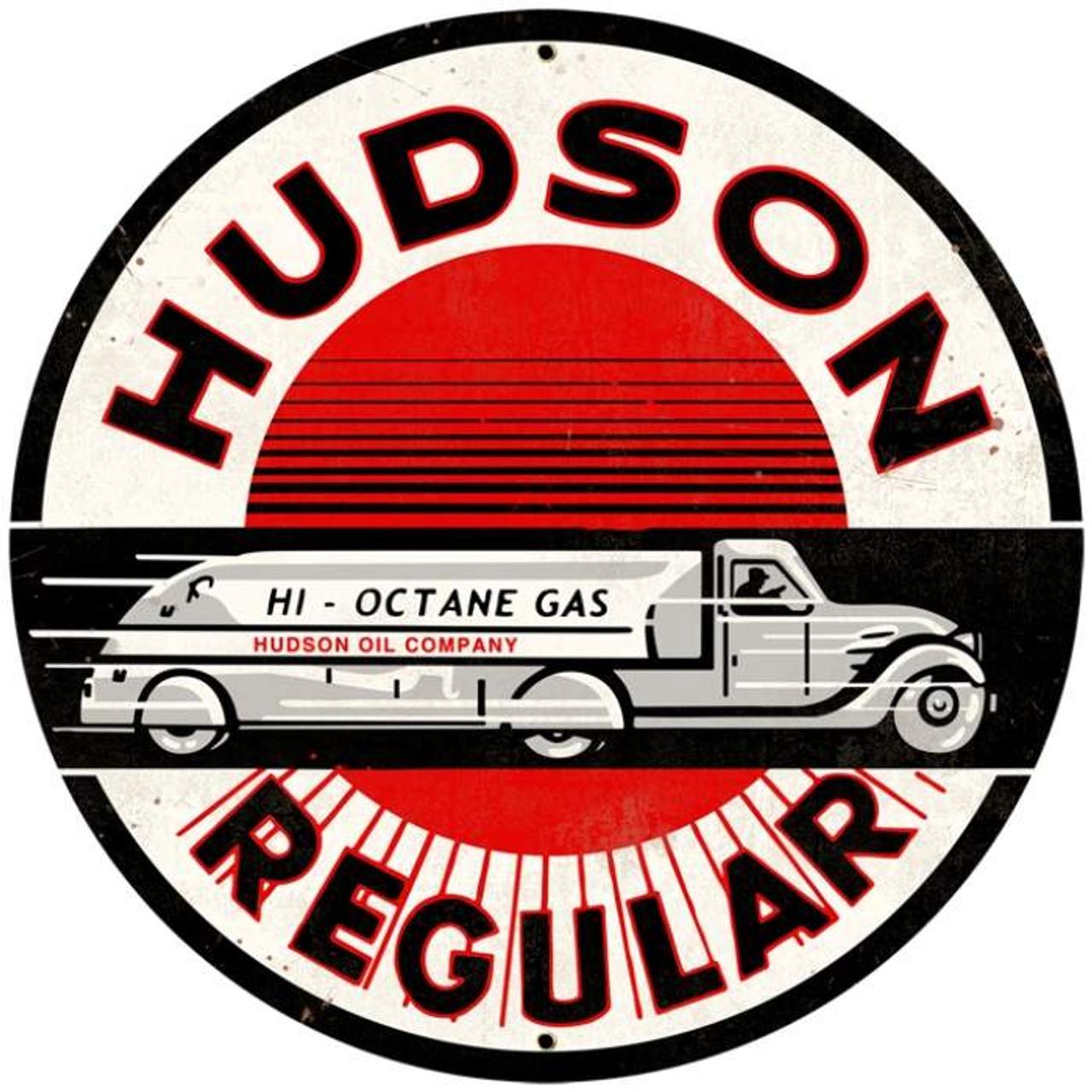 Retro Hudson Regular Round Metal Sign 28 x 28 Inches