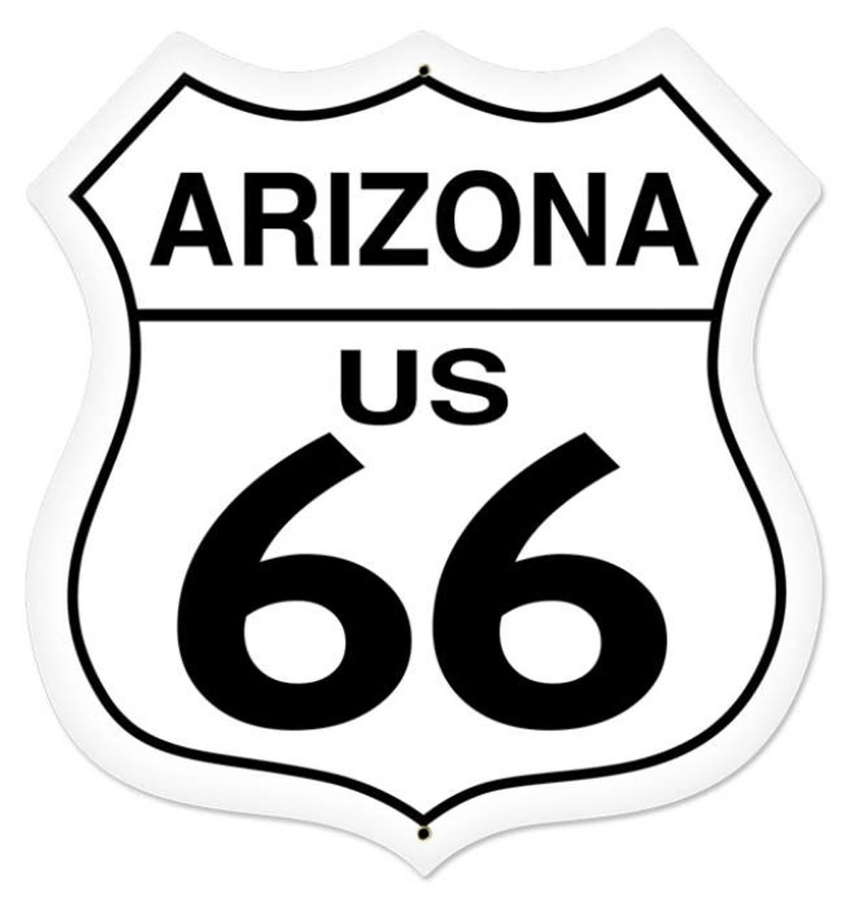 Retro Arizona Route 66 Shield Metal Sign 28 x 28 Inches