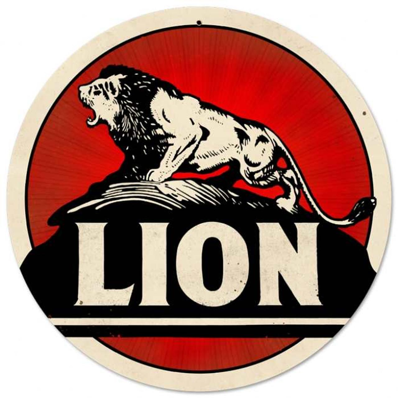 Retro Lion Gasoline Round Metal Sign 28 x 28 Inches