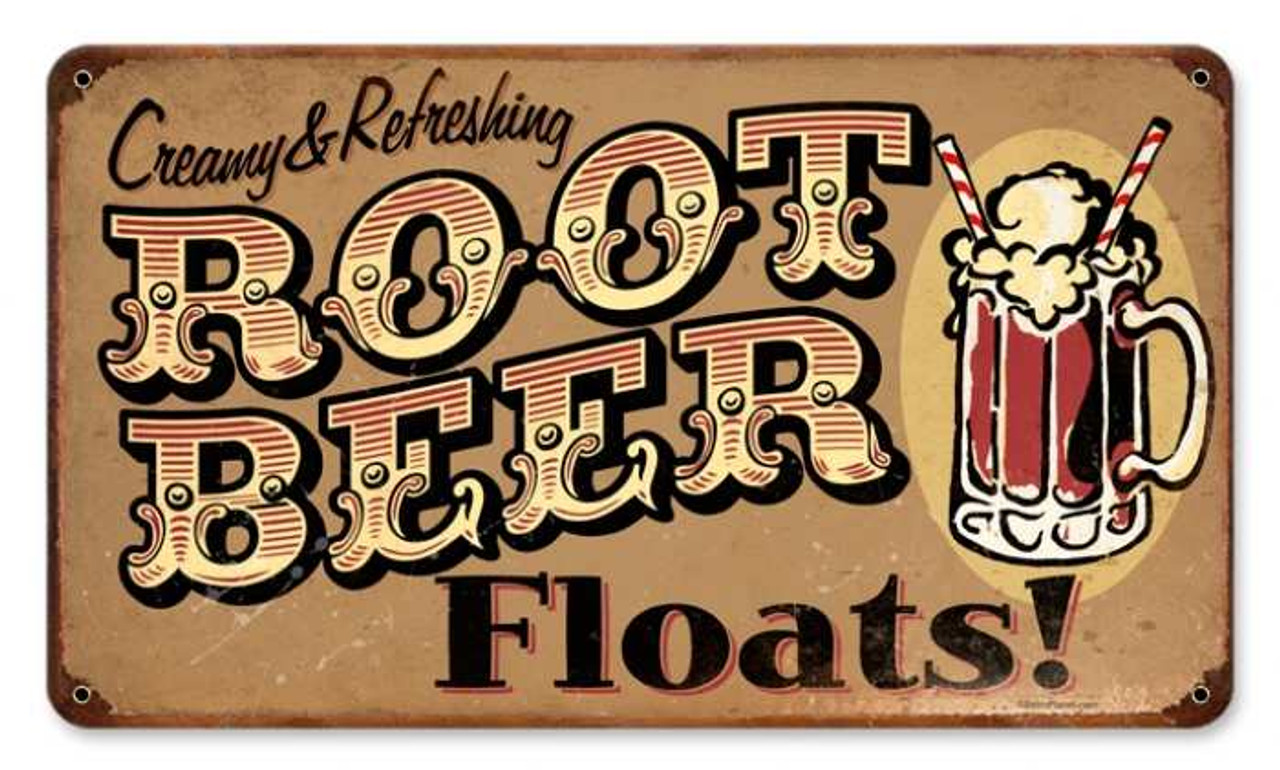 Vintage Root Beer Floats Metal Sign 8 x 14 Inches